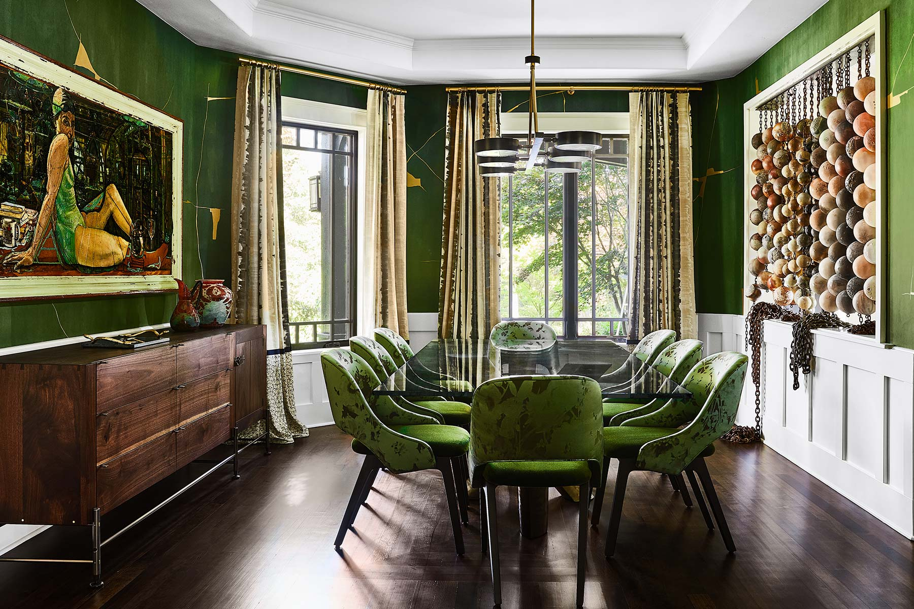 Norton dining room with green chairs